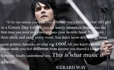 I need to remember this from time to time when I go to the shows these days of the bands I grew up with. I'll admit it.