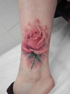 Pretty No Line Rose Tattoo