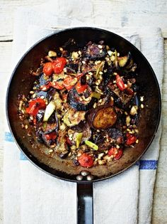 Enjoy Jamie's baked aubergine recipe inspired by the Sicilian classic Aubergine al forno, as a lovely dairy-free alternative to cheesy parmigiana.