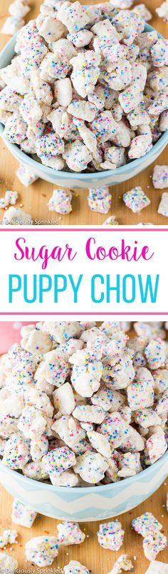 No-Bake Sugar Cookie Puppy Chow- easy dessert or snack. No Bake Dessert! Puppy Chow Recipes, Chex Mix Recipes, Cookie Recipes, Snack Recipes, Dessert Recipes, No Bake Kids Recipes, Healthy Puppy Chow, Best Puppy Chow Recipe, Cereal Recipes