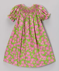 451a86f9e1ce Take a look at this Pink & Green Floral Bishop Dress - Infant & Toddler by  Smocked Giraffe on today!