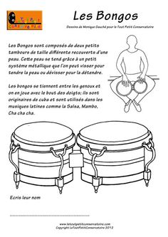 Les bongos Piano, Percussion, Techno, Drums, Coloring Books, Music Instruments, Continents, French, Music Activities