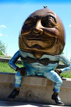 Humpty Dumpty.  A whimsical bronze sculpture of Humpty Dumpty.  Prints, totes, cell phone cases, throw pillows, and duvet covers available on my Fine Art America page.  www.pamela-romjue.artistwebsites.com