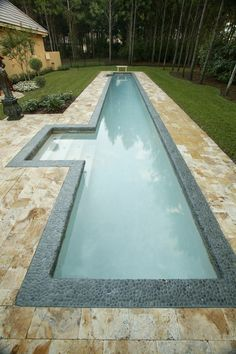 Discover 32 lap pool designs for your inspiration. Browse photos of backyard lap pools. Lap pool designs for small yards and narrow landscapes. Small Backyard Pools, Backyard Pool Designs, Small Pools, Swimming Pools Backyard, Swimming Pool Designs, Pool Landscaping, Outdoor Pool, Indoor Outdoor, Indoor Swimming