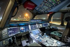 The very spacious cockpit of the A350, brightly lit by the huge screens, looks even more impressive at night. - Photo taken at Tel Aviv (-Jaffa) - Ben Gurion (Lod) (TLV / LLBG) in Israel in November, 2017.