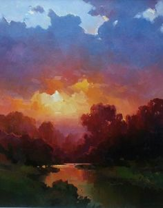 Gorgeous sunset and landscape painting! Look at the color in the sky and clouds! Gorgeous sunset and landscape painting! Look at the color in the sky and clouds! Pastel Landscape, Sunset Landscape, Abstract Landscape, Landscape Paintings, Watercolor Landscape, Oil Painting Pictures, Art Pictures, Painting Videos, Painting Lessons
