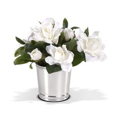 Gardenias in a silver mint julep cup Bucket Centerpiece, Centerpieces, Mint Julep Cups, Gardenias, Fresh Flowers, Flower Arrangements, Floral, Plants, Silver