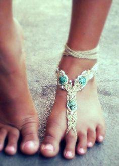 Rustic Gypsy Barefoot Sandals. Bohemian macrame by MysticSummer