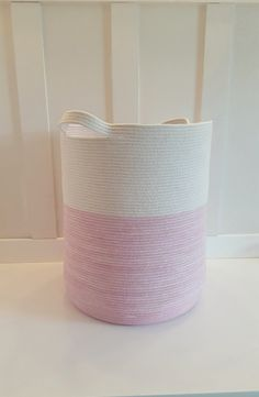 XXL Pink and White Rope Basket with Handles by PrairieStMercantile