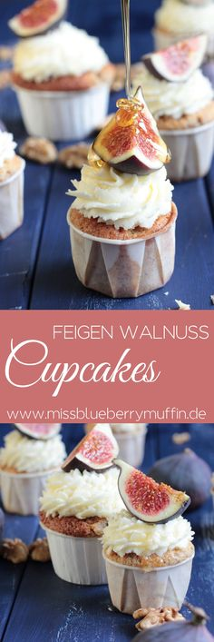 Edle Feigen-Walnuss-Cupcakes mit Honig-Mascarpone-Frosting <3 // Cupcakes with figs and walnuts