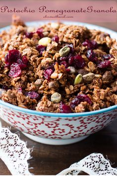 Our new favorite granola! Pistachio pomegranate granola is so easy to make and I've been loving it as a mid day snack! #pomegranate #granola #superfoods #healthy