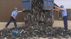 Cell Phone Techno Trash  Have you ever wondered what happens to your cell phone when you don't properly recycle it or where it ends up either way? See here a HUGE number of obsolete or old cell phones being dumped. What happens to these and how does it impact you and the world? Next time you upgrade or buy a new phone, think about what you're doing with your old one!