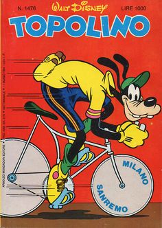Fun cartoonish example of cycling art. Note the motion illustrated by horizontal linework. Note also the nice clean line and colour style. (viewed 17/3/15 -)