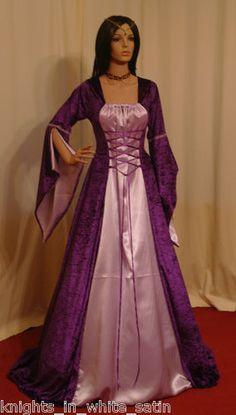 Medieval Renaissance Wedding Dress Handfasting Prom Bridesmaid in Purple Lilac | eBay