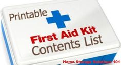 Printable First Aid Kit Contents List...For more creative tips and ideas FOLLOW https://www.facebook.com/homeandlifetips