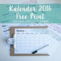 Kalender 2016  Free Print Printable Freebie Calendar Kostenlos Pearodie www.pearodie.wordpress.com