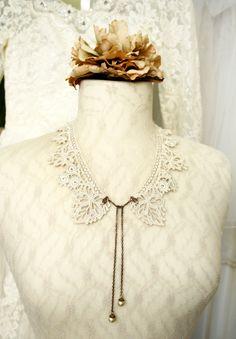 lace necklace JUSTINE ecru tinaevarenee on Etsy  #jewelry #wedding #fashion