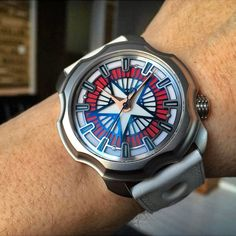 First look wrist shot of the new Korona K0 Daredevil Dawn on the wrist of Mr Sarpaneva himself.