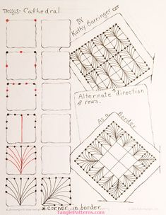 Cathedral ~ Zentangle Tangle by Kathy Barringer Zentangle Drawings, Doodles Zentangles, Doodle Drawings, Mehndi, Henna, Doodle Books, Doodle Frames, Doodle Patterns, Zentangle Patterns