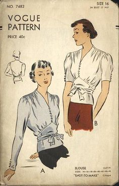 1940s long and half-sleeve blouses (I really like it when vintage shirts have rows of tiny buttons like these two do).