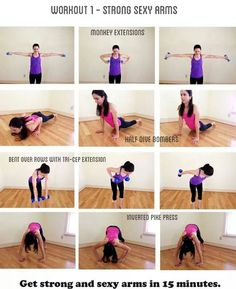Your sexy arm home workout routine. 4 exercises that target your arms to build strength and muscle. Great upper body workout for women. Half dive bombers are a killer exercise for not only working your arms but your abs too! Fitness Diet, Fitness Motivation, Health Fitness, Workout Fitness, Fitness Goals, Keep Fit, Stay Fit, Back In The Game, Tips Belleza