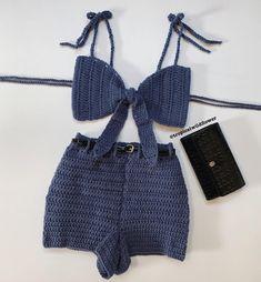 crochet - Chella Crochet Shorts Set - Apocalypse Now And Then Crochet Shorts Pattern, Crochet Bra, Crochet Woman, Crochet Clothes, Diy Clothes, Crochet Shorts Outfit, Crochet Summer Tops, Crochet Crop Top, Crochet Tops