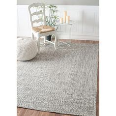 nuLOOM Handmade Casual Solid Braided Light Grey Rug (4' x 6') | Overstock.com Shopping - The Best Deals on 3x5…