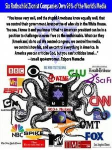 96% of the World's Media is owned by Zionist Rothchild Companies…