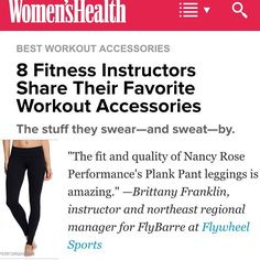 From @womenshealthmag - 8 Fitness Instructors Share Their Favorite Workout Accessories. #NancyRosePerformance Plank Pant found here: www.nancyroseperformance.com/plank-pant | #YogaPants #Leggings #WorkoutPants #ActiveWear