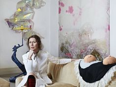 Valeria Napoleone photographed in her London home in February 2015, with works by Julie Verhoeven, Berta Fischer and May Hands