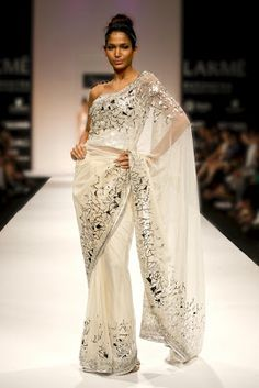ideal sari! minimal midriff, strapless corset, sheer fabric