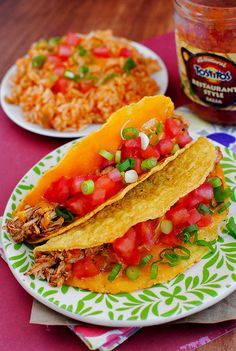 Easy Crock pot chicken tacos and Mexican rice  To make gluten free, use Bearitos brand taco shells and seasoning