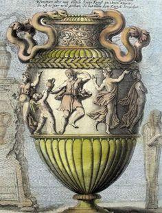 Baroque vase by Joachim von Sandrart, 1676. Hand-coloured engraving.