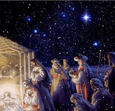 O Holy Night ❤️ the birth of our Lord Jesus ❤️ Christmas Scenes, Noel Christmas, Christmas Nativity, Vintage Christmas Cards, Christmas Pictures, Christmas Greetings, Winter Christmas, Irish Christmas, Christmas Glitter