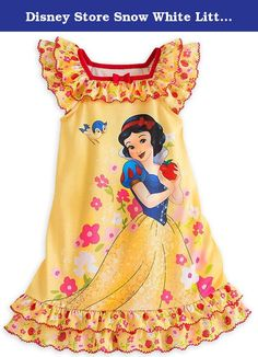 Disney Store Snow White Little Girls' Yellow Ruffles Nightshirt Size 2 XXS. Snow White grasps a delicious ruby red apple on this fairytale nightshirt. The ruffled detailing will make your sleepy princess the fairest in the land as she dreams of happily ever after. Soft, comfortable style from Disney Store. Highest quality fashions. Makes a thoughful birthday or other occasion gift for your little princess.Â.