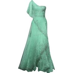 Randa Salamoun - edited by mlleemilee ❤ liked on Polyvore featuring dresses, gowns, vestidos, long dresses, green gown, green evening dress, long green dress and green evening gown
