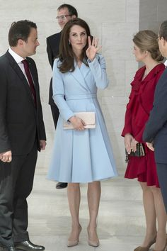 Catherine, Duchess of Cambridge visits the Grand Duke Jean Museum of Modern Art (MUDAM) to view exhibitions by British artists Sir Tony Cragg and Darren Almond during a one day visit on May 11, 2017 in Luxembourg.