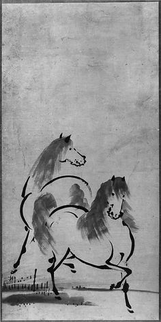 """""""Two Horses,"""" Attributed to Unkoku Toetsu (Japanese, active second half 17th century)"""