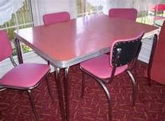 vintage kitchen formica table 4 chairs pink flamingo for sale more