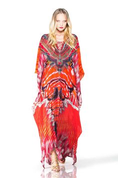 Embellished Kaftan Dresses Lace Up Dress in Red Butterfly Print