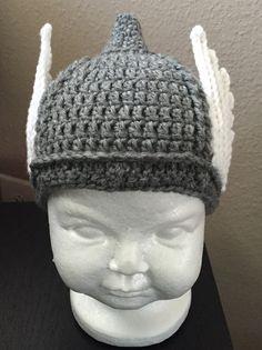 4cbe5b9bec8 Baby Thor helmat hat by BizzyLizzyCrochet on Etsy Crochet Baby Hat  Patterns