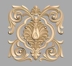 A866 Wood Carving Designs, Wood Carving Art, 3d Cnc, Pattern Art, Scroll Pattern, Ornaments Design, Clay Design, Filigree Design, Gold Wood
