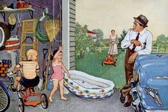 1950s family life. Guess who's mowing the lawn? #vintage #nostalgia  Life's a Journey, http://www.SaveEveryStep.com