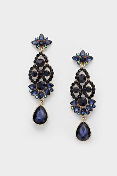 Crystal Beverly Earrings in Sapphire on Emma Stine Limited