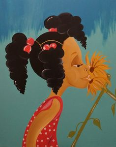 """Black Art/African American Art """"Little Miss Sunflower"""" 24x30 in. Original Art"""