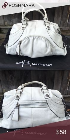 ✨REDUCED!✨B. Makowsky Bag EUC! Awesome, gently-used, B. Makowsky bag! White with silver hardware. Soft, buttery leather and clean, gorgeous faux-suede interior. Nordstrom purchased. Zipper compartments throughout! I didn't carry this bag for long; I've leather-cleaned all of the exterior and it looks great!  Light wear including minor discoloration of the handles (pic#4), although it cleaned up well! That means you'll be able to touch it up too, whenever you wish! A given for the fun of a…