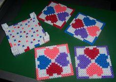 Perler Beads Heart Coasters by margieelisabeth