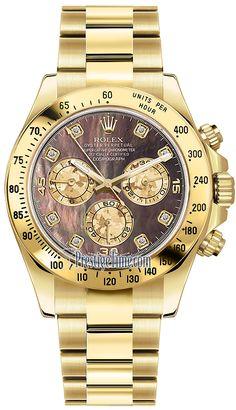 Rolex Cosmograph Daytona Yellow Gold 116528 Black MOP Diamond
