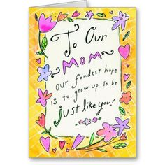 Mothers day colorful word customizable card #mothersday