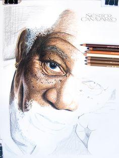 My 50-Hour High-Detail Drawing Of Morgan Freeman In Color Pencils | Bored Panda